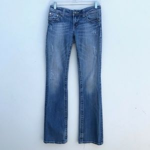 Miss Me Boot Cut Jeans Peace Sign Wings #1348